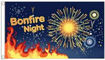 Bonfire Night Flames & Fireworks 5'x3' (150cm x 90cm) Flag